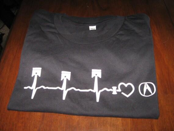 Acura Piston Heartbeat TShirt Unisex Adult I LOVE Acura Etsy - Acura clothing