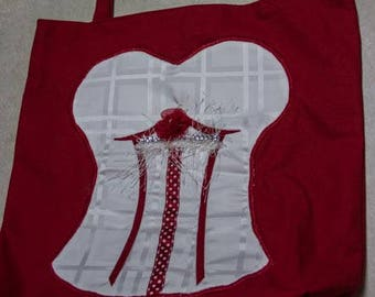 Red Canvas Tote Bag with White Satin Bustier Applique - White Lining