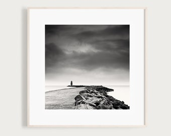 Black and White Photography Print of Poolbeg Lighthouse, Great South Wall, Dublin, Ireland