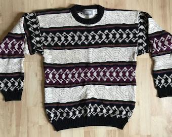 c9acd0f7f3253 Vintage  90s Concrete Mix Aztec Stripe Patterned Sweater Large