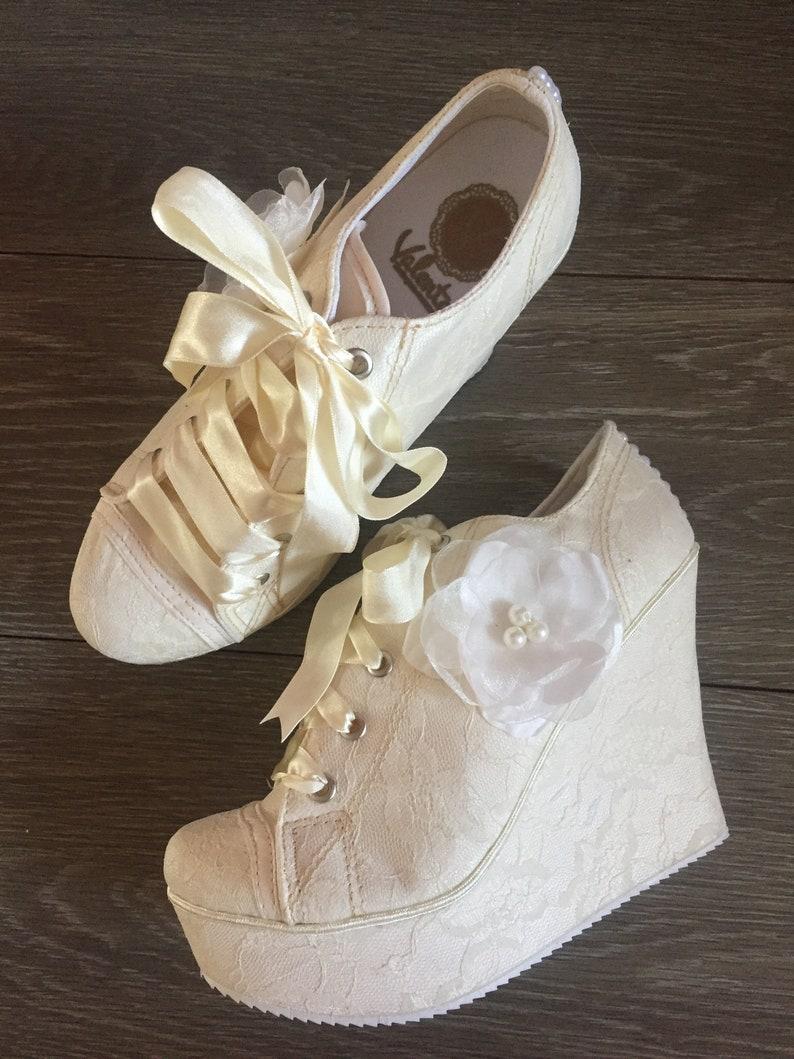 5db0ea9c35f Wedding sneakers for bride wedding platform shoes bride