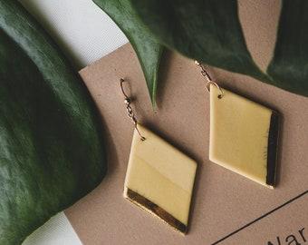 Ceramic Earrings | Diamond Earrings | Mustard Earrings | Mustard Gold Earrings