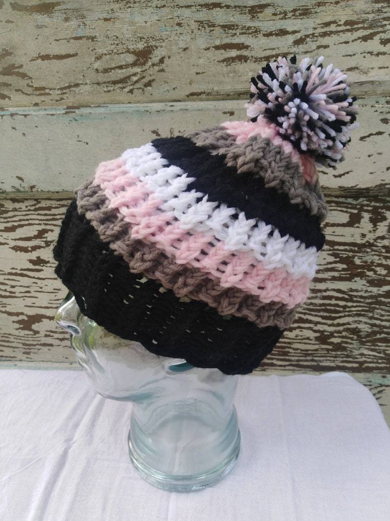 Knitted black gray pink and white beanie hat with fluffy pom pom Winter Stylish Fashion