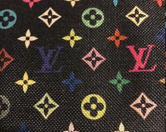 6915cb3d342d LV Louis Vuitton Inspired Cotton Linen Upholstery Black Multicolor Classic  Monogram Fabric