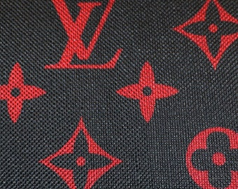 9e441236bb0 Free Shipping in US LV Louis Vuitton Inspired Cotton Linen Upholstery Pink  or Brown Red Black Classic Monogram Fabric 1.5 Yard