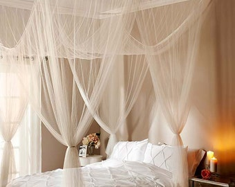 White Sheer Bed Canopy Bedroom Decor