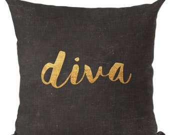Divas Aren't Made They're Born Pillow Cushion Throw Pillow Cover Diva Decor