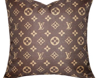 Louis Vuitton Inspired Throw Pillow Cover Decorative Pillow Brown Classic Monogram Pillow Beige Pillow Fashion Pillow Home Decor Couture LV