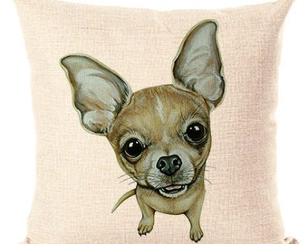 Chihuahua Beige Pillow Throw Pillow Cushion Pillow Cover Decorative Pillow White Pillow Beige Pillow Fashion Pillow Home Decor