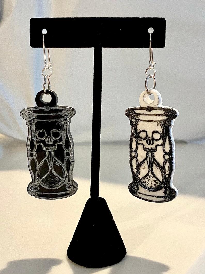 Made to Order Unus Annus Inspired Skull in Hourglass Resin Earrings Memento Mori