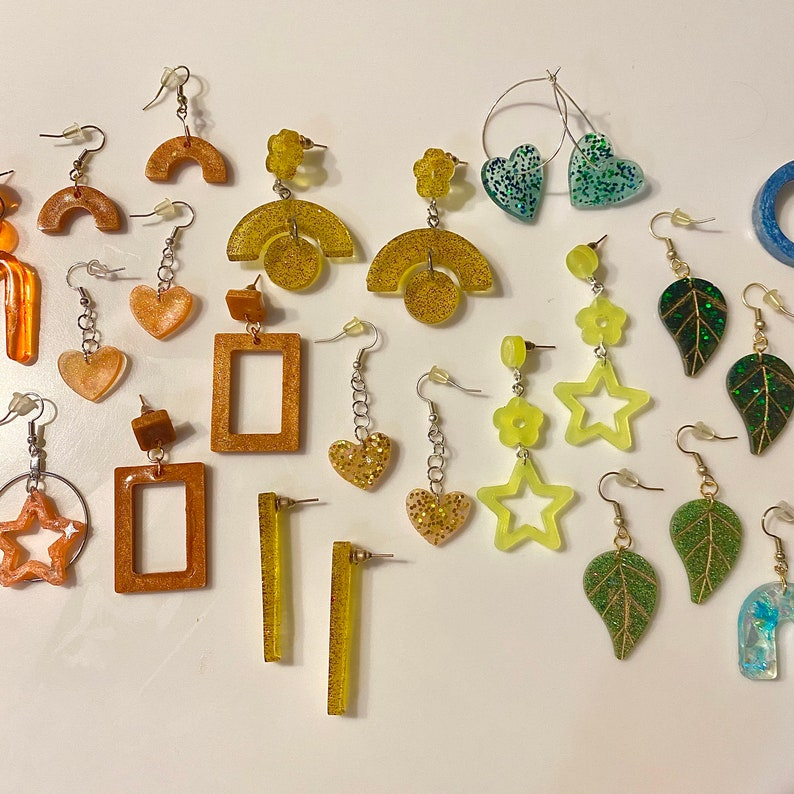 Rainbow Glitter Resin Earrings MYSTERY BOX Fun Earrings Cute Earrings Quirky Earrings Retro InspiredEarrings Kawaii Earrings