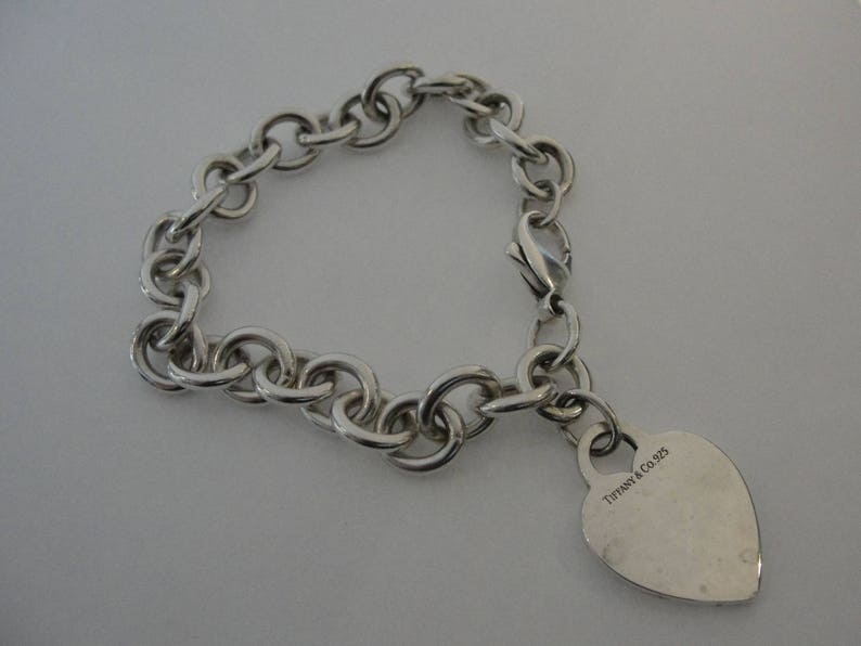 cd93dacb258d Vintage Tiffany   Co Sterling Silver Heart Tag Charm Bracelet