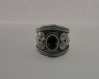 Sterling Silver Wide Garnet Band Ring