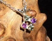 Moldavite Amethyst Faceted Sterling Silver Pendant Necklace