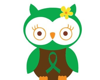 cancer awareness owl svg/pancreatic cancer/ovarian/mental health/organ transplant