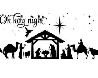 nativity svg/nativity scene svg/christmas nativity scene svg/birth of christ svg/oh holy night svg