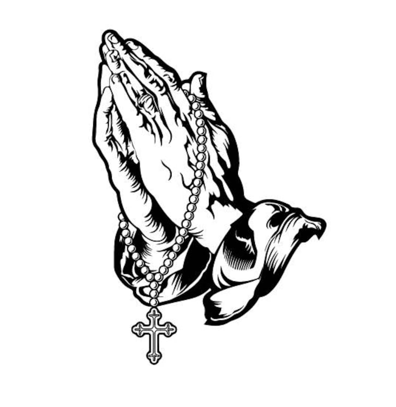 Praying Hands With Rosary Beads And Cross Svg Praying Hands Etsy