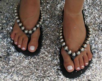 Black Flip Flop black curb chain Custom Flip Flops | Etsy