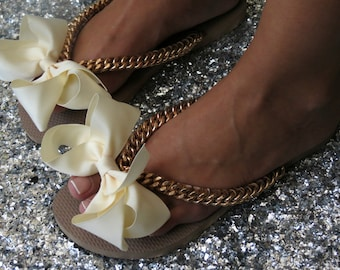 d6c531f7a4aac Items similar to Rose Gold Bridal Flip Flops, Beige Bow Shoes, Rose ...