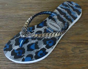 d2d5dc52900c0c Blue Leopard Flip Flop