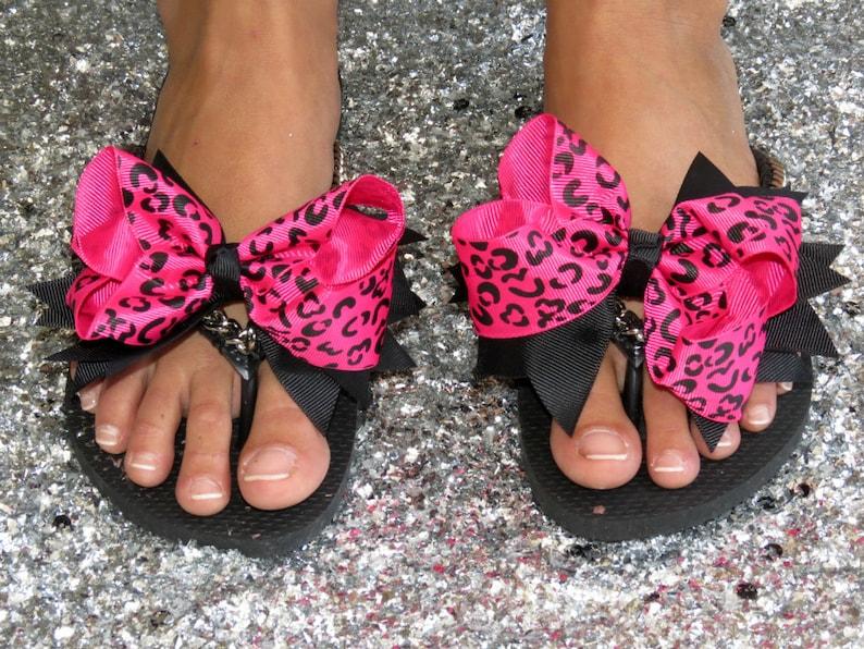 Silver Curb Chain Custom Sandals Leopard Bow Decorated Black Havaianas Flip Flops