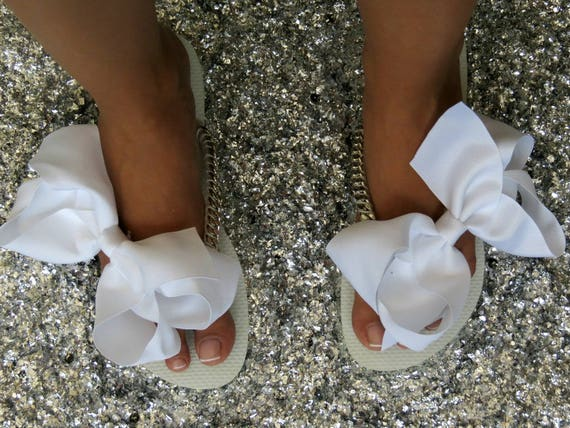 Bridal Shoes Bow Silver Silver Women's Flip Wedding Flip Bridal Shoes Flops Flat Flops Flops White Gift Flip Shoes Shower Bridal qq86zw