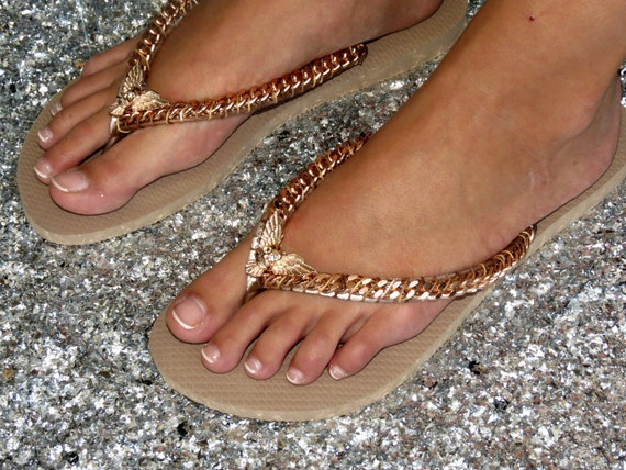 Rose Gold Decorated Havaianas Flip Flops, Rose Gold Curb Chain Custom Skull Sandals