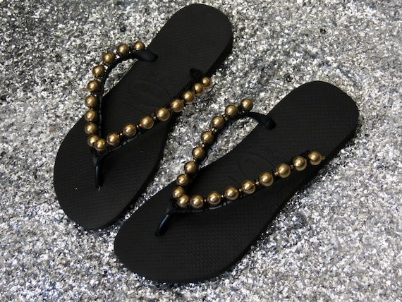 Black Decorated Custom Flat Sandals Flip Flops With a Gold Ball Chain