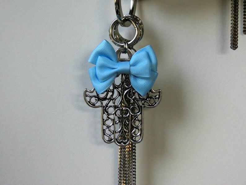 Blue Keychain Silver Keyring Bow Keychain Big Silver Keychain Hamsa Jewelry Silver Hamsa Keychain Keychains for Women Jewish keychain