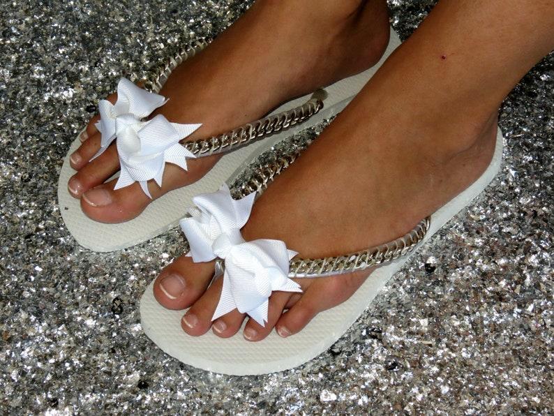 86451d2072bc6d Silver Bridal Flip Flops bridesmaid Shoes Wedding Flip