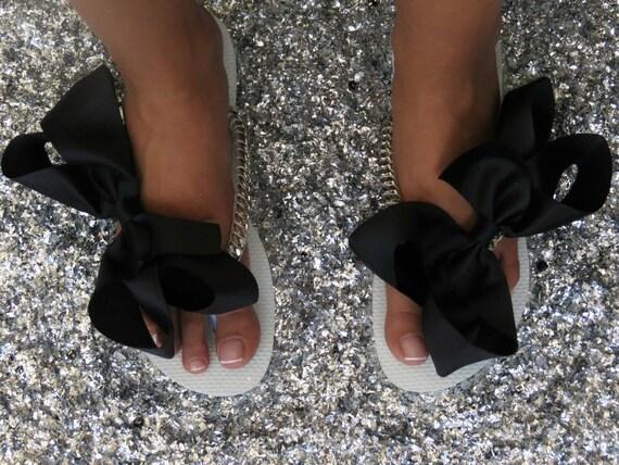 chaussures de noeud mari Bridal Flip chaussures Flops noir argent mariage tongs wTWSqA86P
