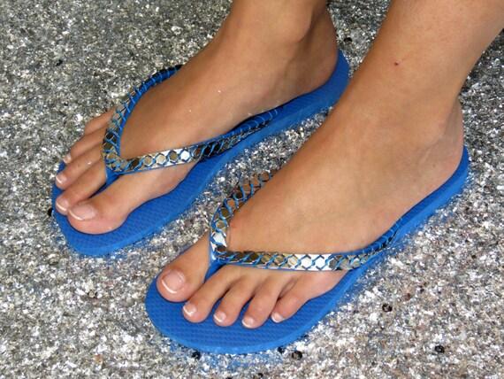 Neon Blue Sandals, Beach Sandals, Custom Flip Flops, Havaianas, Thang Sandal, Flat Summer Sandals, Woman Flip Flop, Decorated Sandals