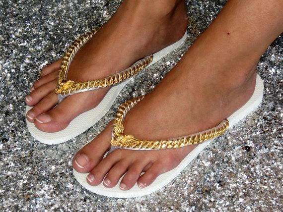 Black Flip Flop Custom Flip Flop Wedding Sandals Gold Skull Sandals Decorated Sandals Gold Curb Sandals Bridal Flip Flop Bridal shoes
