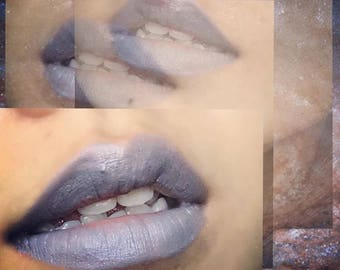 SPACELIPZ 'MOONTALK' Natural Vegan Silver Lipstick - silver lipstick, grey lipstick, duochrome lipstick, lip balm, outer space