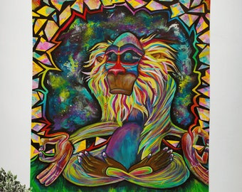 Meditating Rafiki Wall Tapestry
