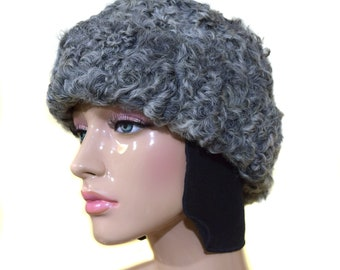 9b175a85e39 Vintage Women Hat   Fur Hat   Earflaps Hat   Gray Cap   Real Fur   Winter  hat