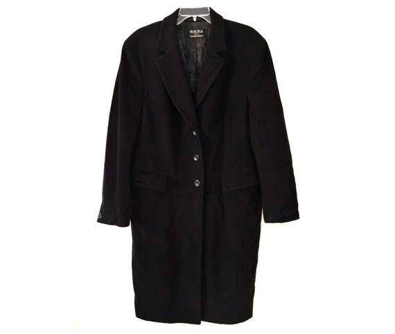 Vintage Maura Styled by Claudia Strater women long coat wool black wool and cashmere