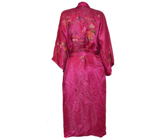 f2c4afb3824a6 Vintage SUSI 100% SILK women robe embroidery bright fuchsia