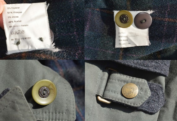coat lining green wool Vintage woman trenchcoat jacket Marcona F7OBZ