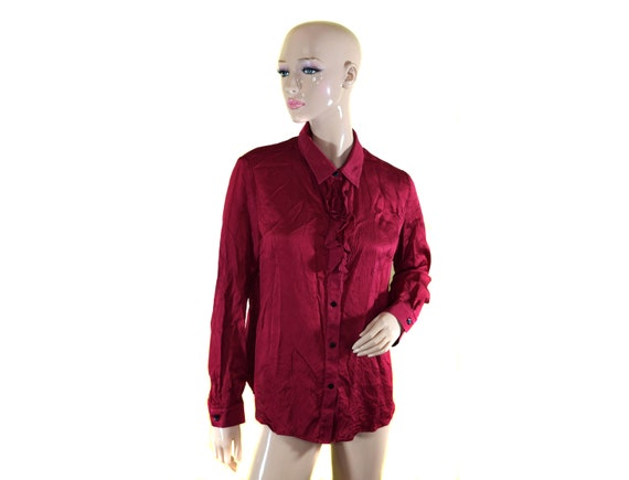 Vintage Baia women shirt blouse top 100% SILK red