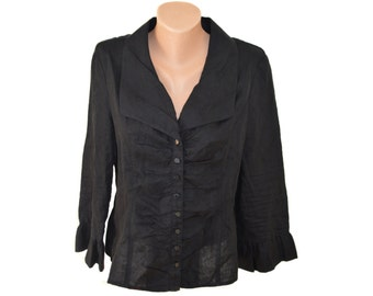 Vintage women blazer black 100% linen