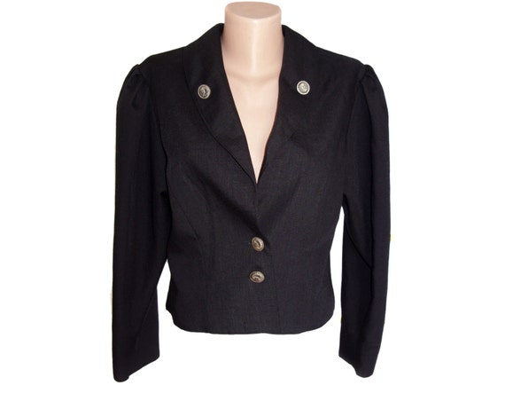 with blue women jacket metal floral navy Vintage buttons blazer qZawPzX