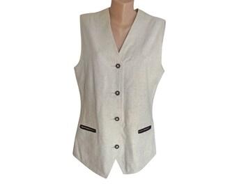 Vintage women vest waistcoat white cotton linen