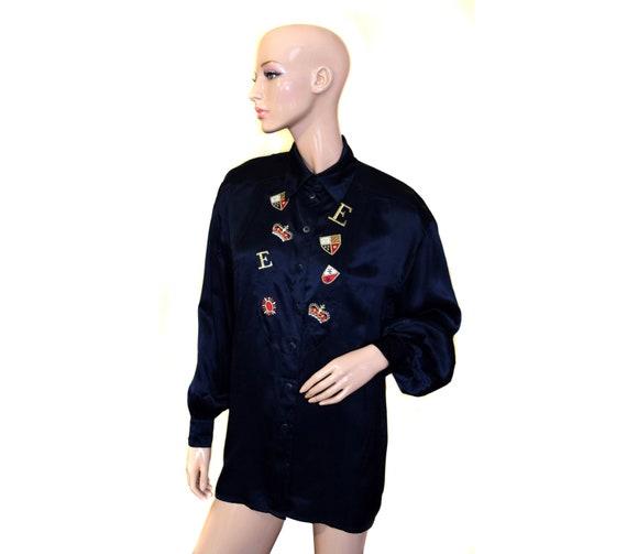 66c209dbfd18e5 Vintage ESCADA by Margaretha Ley women black blouse shirt Made   Etsy