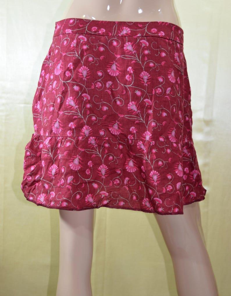 Vintage skirt  Women skirt  100/% linen  Red skirt  Floral skirt  Flowers skirt