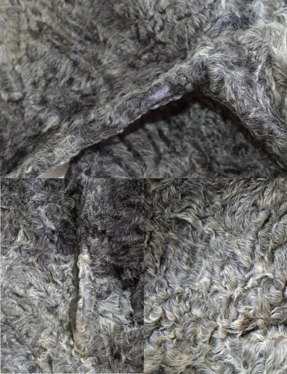 Astragan Classic Leder Keska Astrachan Frauen Fell Mantel echt Vintage grau roxCBde