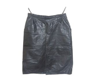 Vintage women skirt real leather gray