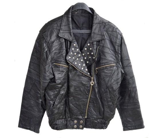 100 heart L pelle women black metal vera Vintage jacket size 90th motorbike zippers leather genuine YwPq7S