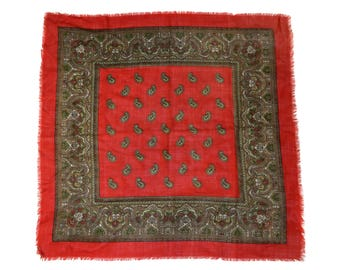 Vintage women scarf red paisley