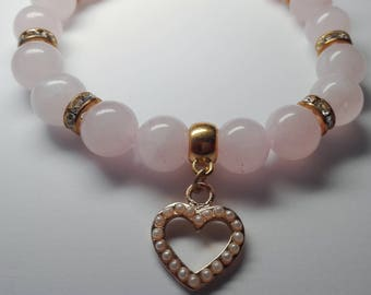 Ladies bracelet with rose quartz